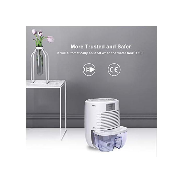 41huI%2BFQvHL Ultra-eficiente: Área aplicable 5-20m2. La eficiencia de deshumidificación de 300 ml / día (30 ° C, 80% de HR) es mejor que el deshumidificador del mismo nivel. Inhibe eficazmente el moho, los ácaros y las bacterias y otros alérgenos, también puede eliminar la humedad y el moho, creando un ambiente interior agradable y refrescante para usted y su familia Ultra silencioso: la salida de ruido de todos los deshumidificadores termoeléctricos que probamos estaba entre 45-53dB. Kasimir utiliza la tecnología Peltier y opera a menos de 35 dB de ruido. Manténgase alejado de los problemas de ruido! Seguro y fácil: cuando el tanque de agua está lleno, el indicador de la luz roja está encendido y se apaga automáticamente. Cuando duerme, no tiene que preocuparse por el continuo desperdicio de energía y las fugas de agua.