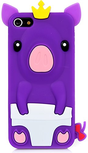 iPod Touch, 3D Pig Cartoon Silicone Full Cover Case for Apple iPod Touch 6th Gen 5th Gen by iSee Case (Purple) (Pig Ipod Touch 5 Case)