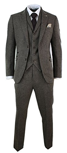 - Cavani Mens 3 Piece Wool Blend Herringbone Tweed Suit Blue Brown Vintage Tailored Fit