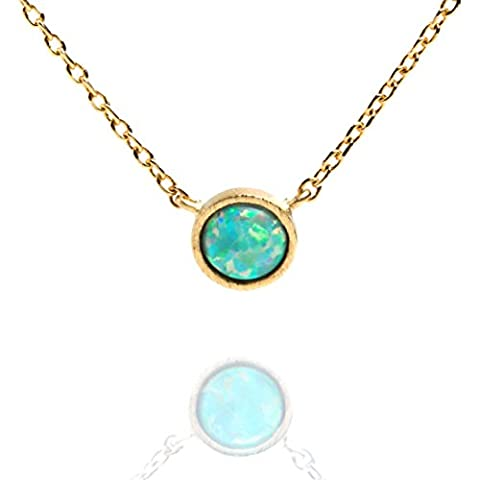 PAVOI 14K Gold Plated Round Bezel Set Green Opal Necklace 16-18
