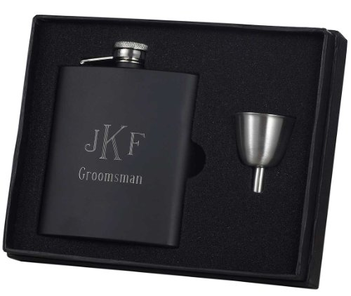 Groomsmen Gift Flask Gift Set Personalized with Free Engraving, Black Matte