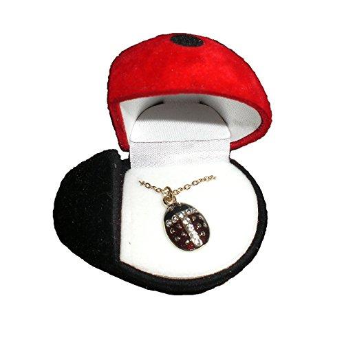 Figurine Bug (Various Animal Pendants Gift Boxed in a Hinged Animal Figurine Box (Lady Bug Pendant)