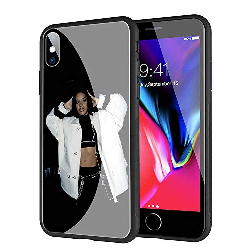 GUOZHAO Phone Case iPhone 7 Plus/8 Plus,GZA-124 Aaliyah Baby Girl Tempered Glass Back Black Cover and Soft Silicone Rubber Bumper Frame for Scratch-Resistant and Anti-Scratch Absorption (Glasses Aaliyah)