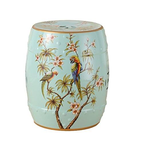 AIDELAI Bar Stool Chair- New Classical Chinese Style Dressing Stool Stool Changing His Shoes Hand-Painted Flowers and Ceramic Drum Stool Stool Antique Benches Trumpet (26 38cm) Saddle Seat