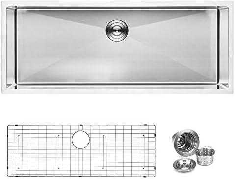 BAI 1249 Stainless Steel 16 Gauge Kitchen Sink Handmade 45-inch Undermount Single Bowl