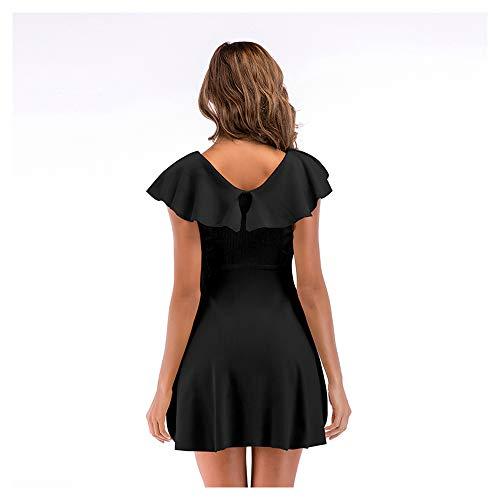 Las Isbxn Elegante Puro de en Black con Color Vestido Volantes Temperamento Mujeres Cintura Gran Size V Cuello Black M de Falda oscilación rPn6SxwrW