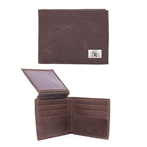 Eagles Wings NCAA Michigan State Spartans Men's Bi Fold Wallet, One Size, Brown