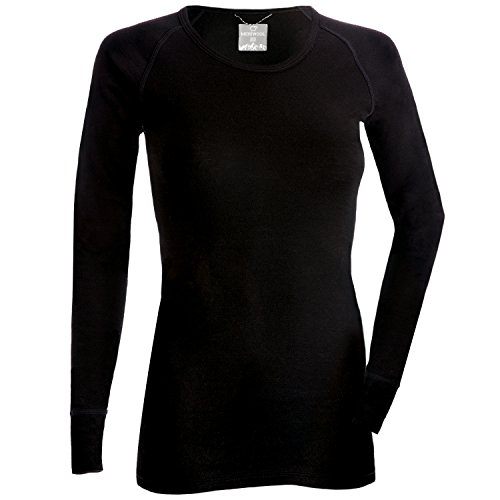 MERIWOOL Merino Wool Women's Lightweight Form Fit Baselayer Crew Pullover Top - Large