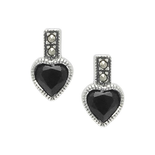 Aura 925 Sterling Silver Earring with Genuine Black Onyx and Marcasite Gemstone - Free Shipping