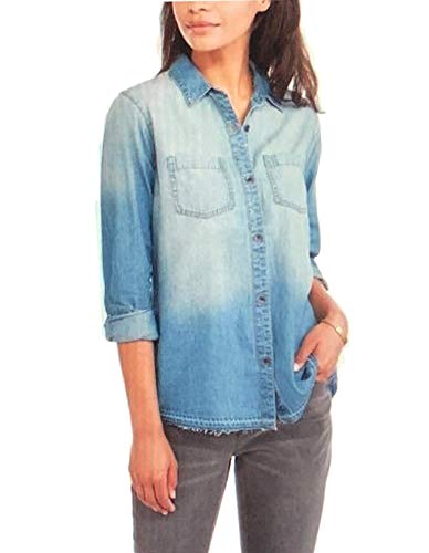 (Faded Glory Women's Denim Boyfriend Woven Unhemmed Shirt, Washed Deni (M (8-10)))
