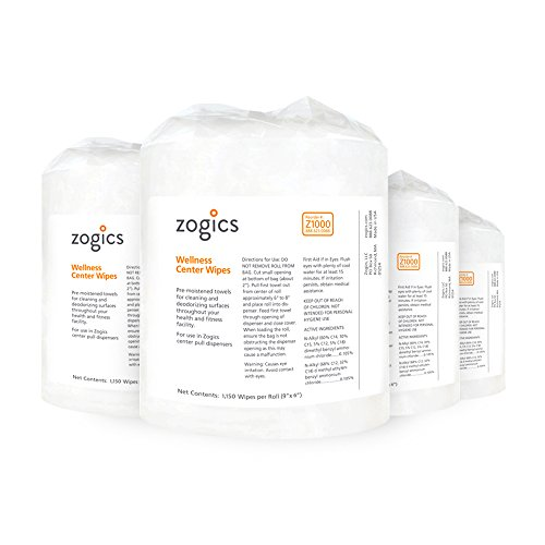Zogics Wellness Center Heavy Duty Gym Equipment and Surface Cleaning Wipes (4 Rolls, 4,600 Wipes) + Stainless Steel Wipes Floor Dispenser with Door and Removal Trash Can by Zogics (Image #1)