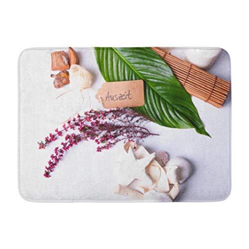 Wood Starfish,Darkchocl Decorative Bath Mat Wellness Bamboo Shell Candles Branch Wood Absorbent Non Slip 100% Flannel 17''L x 24''W for Bathroom Toilet Bath Tub Living Room