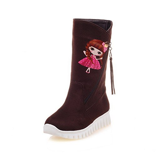 Pattern Toe Top Low Round Frosted AmoonyFashion Cartoon Boots Heels Brown Women's Closed Low Ov1pwq4