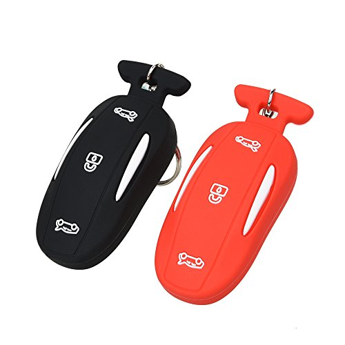 Deal Fontic Set of 2 Rubber Silicone Smart Key Fob Remote Cover Case Holder Protectors for The Tesla Model X P90d (Black&Red)