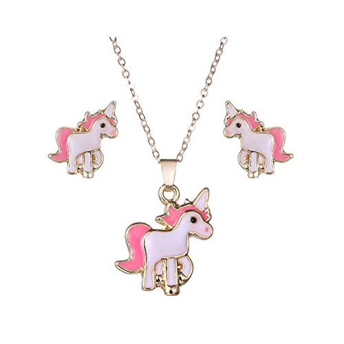 Spiritlele Lovely Unicorn Necklace Earrings Set Pony Jewelry Pack for Girls Women (Pink Unicorn 4)