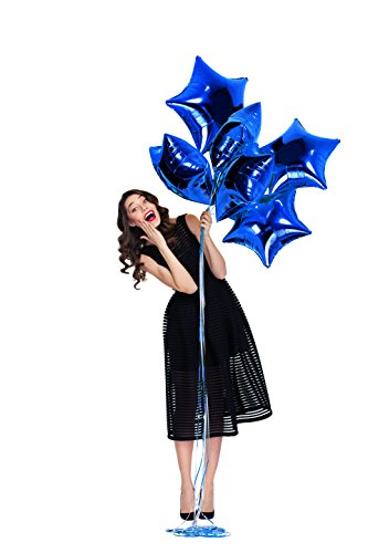 Treasures Gifted Pack of 6 Navy Blue Foil Mylar 18 Inch Helium Star Balloons Birthday Decorations Boys or Girls Quinceanera Little Prince Baby Shower Bachelor -