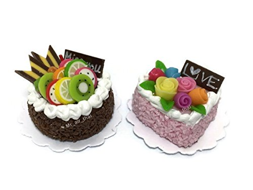 2pc Miniature Wedding Cake Bakery Dollhouse Cake Chocolate Birthday Cake Strawberry Mini Fruit Food #MF019