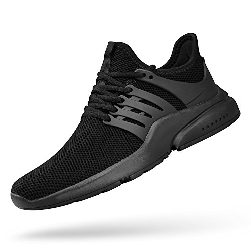 QANSI Mens Running Shoes Flyknit Breathable Lightweight Fashion Sneakers Athletic Tennis Gym Shoes Black 9.5