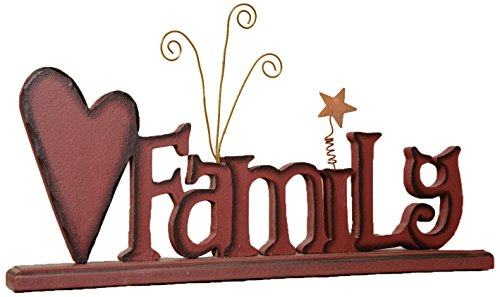 Your Hearts Delight Family Wooden Word Sign with Base, 12 by 5-1/2-Inch (Decor Words Wooden)
