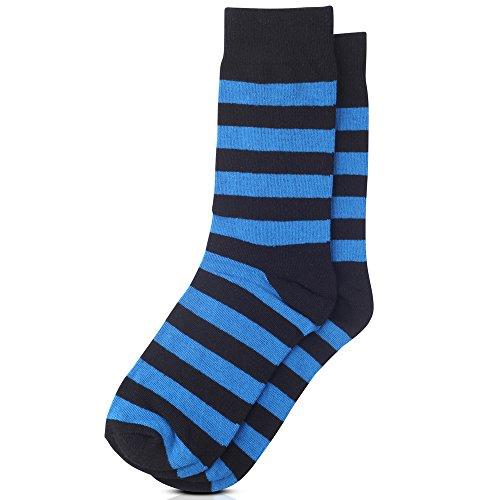 Jacob Alexander College Stripe Cotton Dress Socks - Royal Black,One Size (Blue Dress Stripe And Black Royal)