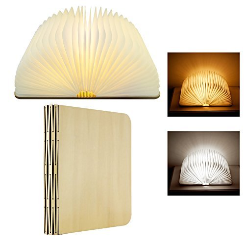 LED Book Lamp, Wireless Wooden Folding Book Light Reading Night Light Table Lamp with USB Rechargeable 2 Changeable Colors for Decor Birthday Gift Halloween Lighting Best Father's Day Gift