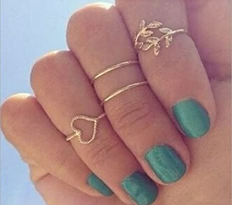 4Pcs//Set  Fashion Boho Women Gold Alloy Finger Band Knuckle Rings Set Jewelry