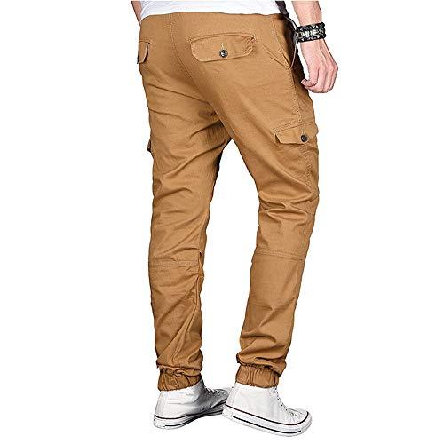 Cotone Chino Fit Elegante Elecenty Sportivo Classico Da Moda In Con Coulisse Uomo Pantalone Slim Cachi Colore Puro zvxqOX