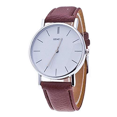 - NYKKOLA Vintage Design Leather Band Analog Alloy Quartz Wrist Watch (Brown)