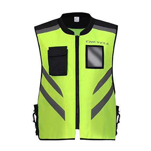 (CHCYCLE Reflective Vest Motorcycle Yellow Security Jacket for Cycling Running Security High Visibility in The Dark (M))