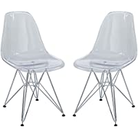 Modway Paris Mid-Century Modern Side Chairs with Steel Metal Base in Clear - Set of 2