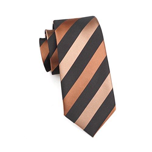 Brown Tie Tie Mens with Hi Hanky Striped Set Cufflinks qUvn68F