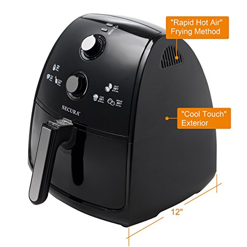 Secura Electric Hot Air Fryer, Recipes,Toaster Rack and Skewers