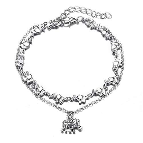 Sevenfly Elephant Pendant Anklet Vintage Animal Bracelet Boho Foot Chain for Women ()