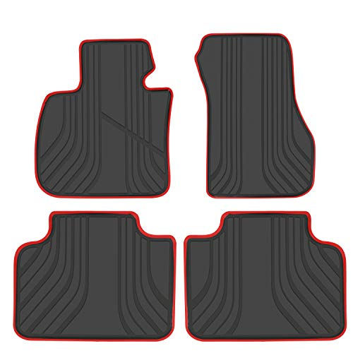 San Auto Car Floor Mat for BMW X1(2015-2019) 2AT(2015-2019) X2(2018-2019) F48 F45 F39 Custom Fit Black & Red, Rubber All Weather Heavy Duty & Odorless