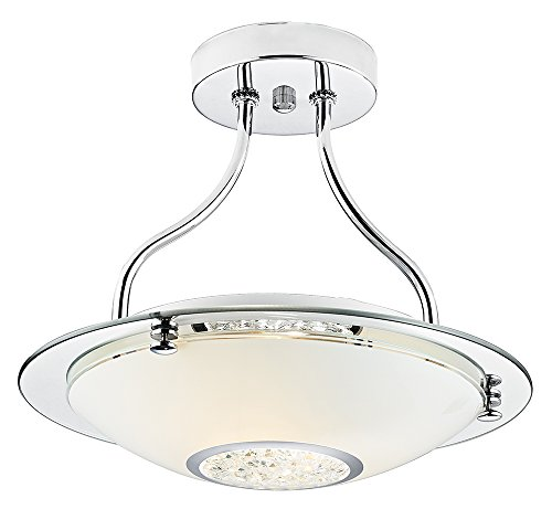 Modern Polished Chrome Semi-Flush Ceiling Light Fitting with White Glass Shade and Crystal Beads by Haysoms