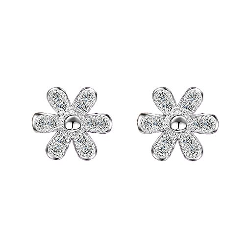 [Womens Shining Chrysanthemum Silver Stud Earrings Accented with Cubic Zirconia] (Invisible Man Costume 2016)