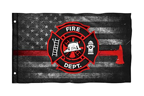 Bonsai Tree Firefighter Thin Red Line Flag 3x5 Ft One Sided and Double Stitched Police Flags with Brass Grommets American Garden House Outdoor Banner