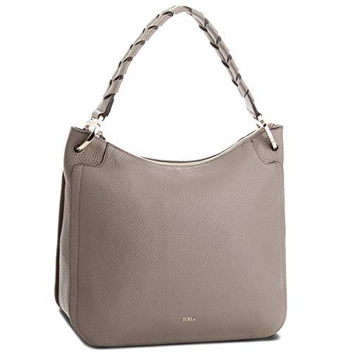Furla Rialto Ladies Medium Beige Sabbia Leather Hobo Bag - Leather Bag Furla