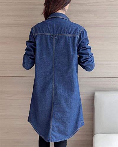 Sciolto Giacca Jeans Hipster Donna Chic tasca Outerwear Lunga Puro Autunno Allentato Bavero Multi Ragazza Giacche Con Irregolare Elegante Casuali Cappotto Moda Bild Als Colore Primaverile Manica Button xpz7zXdwn