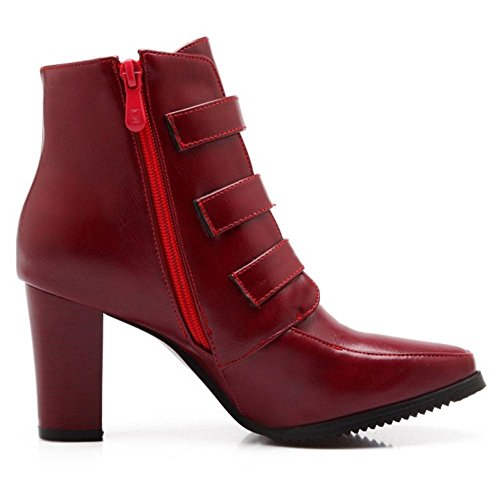 COOLCEPT Damen Mode Stiefel Zipper Red