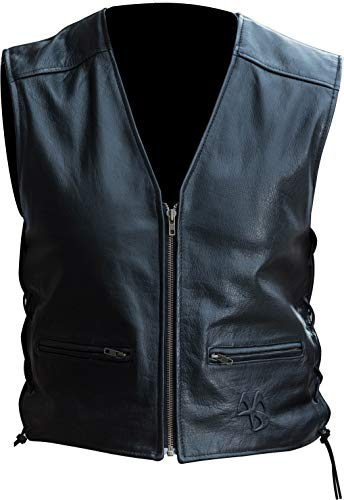 Apache Leather Motorcycle Riding Vest with side Extension ()