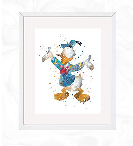 Donald Duck Prints, Mickey Mouse Clubhouse Disney Watercolor, Nursery Wall Poster, Holiday Gift, Kids and Children Artworks, Digital Illustration Art