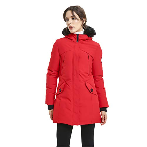 PUREMSX Women's Hooded Parka, Stylish Down Alternative Heated Padded Mountain Insulated Windproof Mid Length Team Jacket with Removable Fur Upper East Side Jacket Women,Red,Small