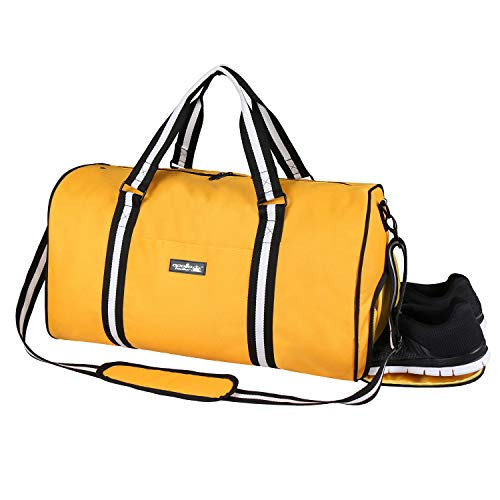 Apollowalker Water Resistant Sports Gym Travel Weekender Duffel Bag with Shoe Compartment Yellow