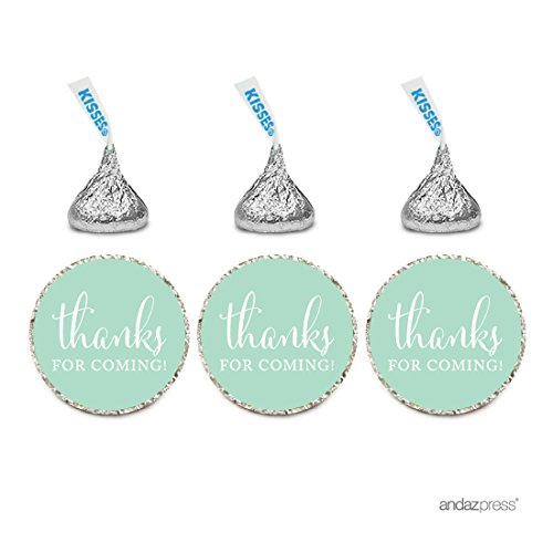 Andaz Press Chocolate Drop Labels Stickers, Thanks for Coming!, Mint Green, 216-Pack, For Wedding Birthday Party Baby Bridal Shower Hershey's Kisses Party Favors Decor Envelope Seals