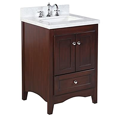 Abbey 24-inch Bathroom Vanity (Carrara/Chocolate): Includes a Soft Close Drawer, Self Closing Door Hinges and Rectangular Ceramic Sink - Unit comes fully assembled by manufacturer, with countertop & sink pre-installed 100% authentic Italian Carrara marble countertop Matching backsplash included as a free gift! - bathroom-vanities, bathroom-fixtures-hardware, bathroom - 41huOqhm0RL. SS400  -