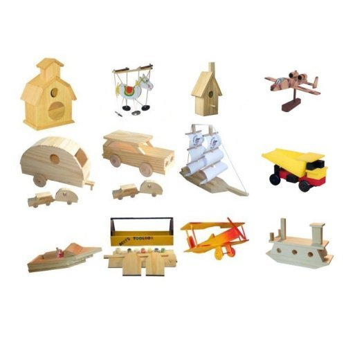 12 Assorted Wood Craft Kits for Kids