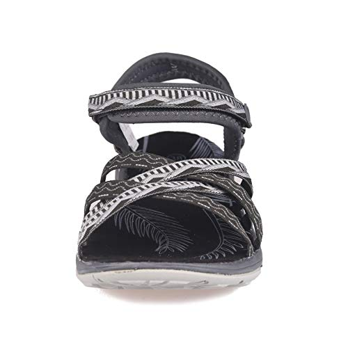 Pictures of GRITION Women Hiking Sandals, Outdoor Girl Sport Summer Flat Beach Water Shoes Open Toe Adjustable Walking Shoes (11 US, Black/Grey) 6