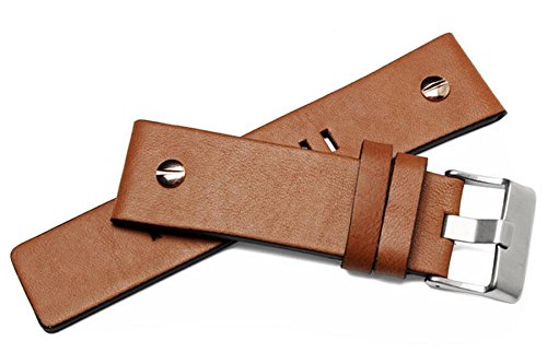 MSTRE NP67 24mm/26mm Calfskin Leather Watch Band Suitable for Men's Diesel Watches (24mm, Brown) by MSTRE (Image #1)