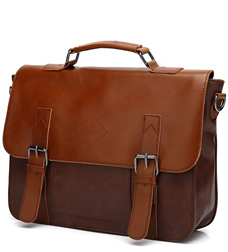 - Men Vintage PU Leather Briefcase 15 inch Laptop Shoulder Messenger Bag Tote